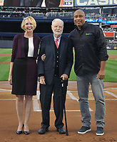 NEW YORK, NY - September 1 : Julie Halston, Ralph Howard, Bernie Williams  at Yankee Stadium in the Bronx,New York during Pulmonary Fibrosis Awareness Month in honor of his father who passed away from the rare lung disease idiopathic pulmonary fibrosis (IPF). September 1, 2017 in New York City.@Bill Menzel / Media Punch