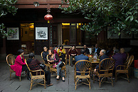 Meishan, Sichuan province, China, October 2014 - Visitors drink tea at the Su Dongpo Memorial Tea House. Su was a famous poet and politician of Song dynasty and native of Meishan.