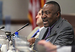 Nevada Assemblyman Tyrone Thompson, D-North Las Vegas, works in committee at the Legislative Building in Carson City, Nev., on Wednesday, March 18, 2015. <br /> Photo by Cathleen Allison