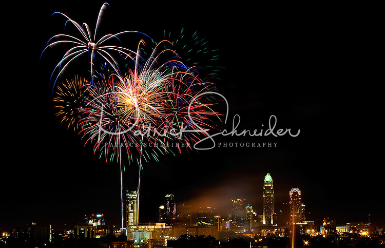 07/04/09 - Bursts of brilliant and colorful fireworks fill the Charlotte, NC, sky during the city's annual Red, White and Boom 4th of July celebration. The 2009 Independence Day celebration photos show new highrise buildings and skyscrapers that were constructed recently. Charlotte Photographer Patrick Schneider has an extensive gallery of Charlotte skyline photography. See more at http://pa.photoshelter.com/c/patrickschneider/gallery/Charlotte-Skyline-Photos/G0000hrADf9pmHvk/.