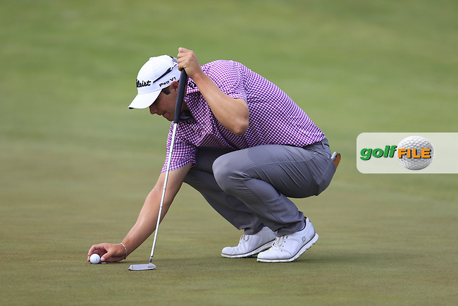 Peter Uihlein (USA) on the 4th green during Friday's Round 2 of the 117th U.S. Open Championship 2017 held at Erin Hills, Erin, Wisconsin, USA. 16th June 2017.<br /> Picture: Eoin Clarke | Golffile<br /> <br /> <br /> All photos usage must carry mandatory copyright credit (&copy; Golffile | Eoin Clarke)