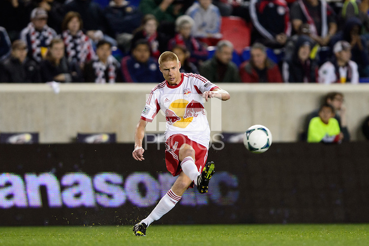 Markus Holgersson (5) of the New York Red Bulls. The Houston Dynamo defeated the New York Red Bulls 2-1 (4-3 on aggregate) in overtime of the second leg of the Major League Soccer (MLS) Eastern Conference Semifinals at Red Bull Arena in Harrison, NJ, on November 6, 2013.