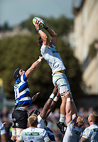 Michael Rhodes of Saracens wins the ball at a lineout. Aviva Premiership match, between Bath Rugby and Saracens on September 9, 2017 at the Recreation Ground in Bath, England. Photo by: Patrick Khachfe / Onside Images