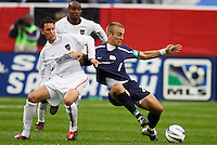 The MetroStars' Mark Lisi battles the  Revolution's Taylor Twellman for the ball. The New England Revolution tied the NY/NJ MetroStars one all at Gillette Stadium, Foxborough, MA, on May 22, 2004.