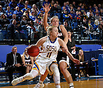 BROOKINGS, SD - JANUARY 7:  Madison Guebert #11 from South Dakota State drives past Mikaela Shaw #22 from the University of Nebraska Omaha during their game Saturday afternoon at Frost Arena in Brookings. (Dave Eggen/Inertia)
