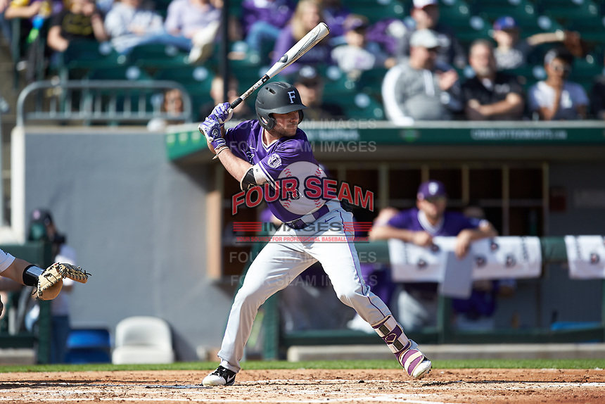 David Webel (5) of the Furman Paladins at bat against the Wake Forest Demon Deacons at BB&T BallPark on March 2, 2019 in Charlotte, North Carolina. The Demon Deacons defeated the Paladins 13-7. (Brian Westerholt/Four Seam Images)