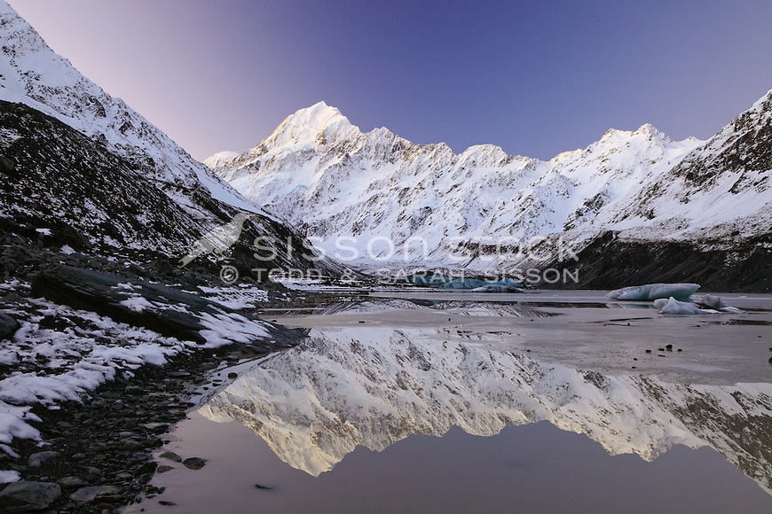 Mount Cook reflections in Hooker Lake - with Cook Range to right of shot. Early Winter. South Island, New Zealand