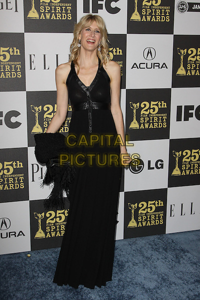 LAURA DERN .25th Annual Film Independent Spirit Awards held At The Nokia LA Live, Los Angeles, California, USA,.March 5th, 2010 ..arrivals Indie Spirit  full length black long maxi dress clutch bag .CAP/ADM/KB.©Kevan Brooks/Admedia/Capital Pictures