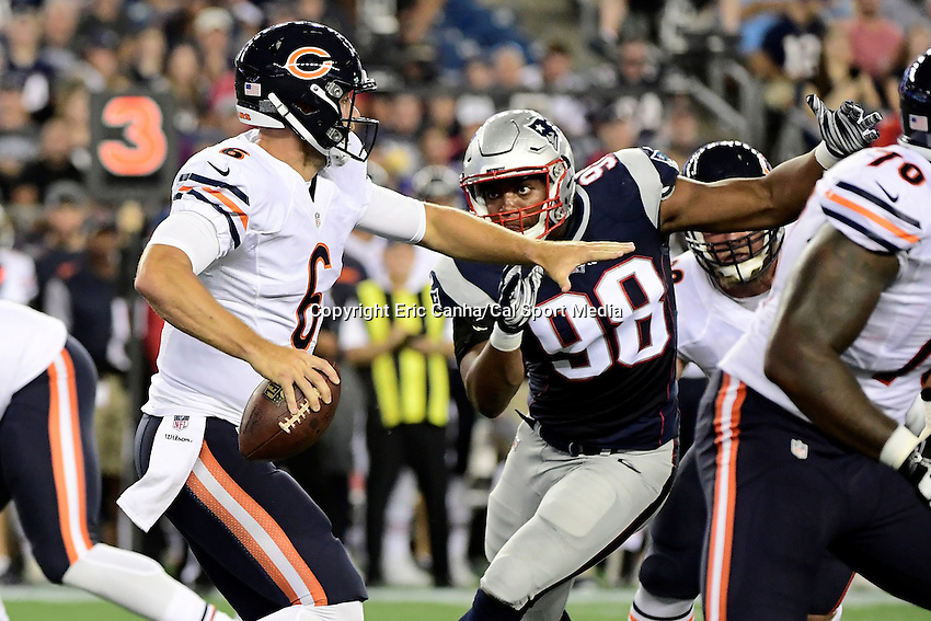 Thursday, August 18 2016: New England Patriots defensive end Trey Flowers (98) focuses on Chicago Bears quarterback Jay Cutler (6) during a pre-season NFL game between the Chicago Bears and the New England Patriots held at Gillette Stadium in Foxborough Massachusetts. The Patriots defeat the Bears 23-22 in regulation time. Eric Canha/Cal Sport Media