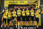 Team Jumbo-Visma win Stage 2 of the 2019 Tour de France a Team Time Trial running 27.6km from Bruxelles Palais Royal to Brussel Atomium, Belgium. 7th July 2019.<br /> Picture: ASO/Pauline Ballet | Cyclefile<br /> All photos usage must carry mandatory copyright credit (© Cyclefile | ASO/Pauline Ballet)