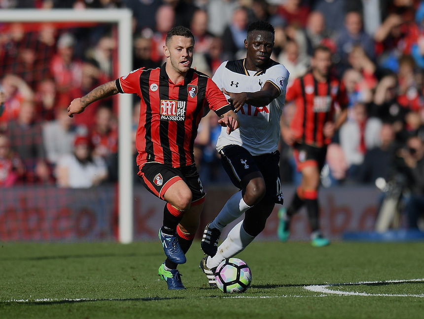 Tottenham Hotspur's Victor Wanyama (R) battles with Bournemouth's Jack Wilshere (L)<br /> <br /> Bournemouth 0 v 0 Tottenham<br /> <br /> Photographer David Horton/CameraSport<br /> <br /> The Premier League - Bournemouth v Tottenham Hotspur - Saturday 22nd October 2016 - Vitality Stadium - Bournemouth<br /> <br /> World Copyright &copy; 2016 CameraSport. All rights reserved. 43 Linden Ave. Countesthorpe. Leicester. England. LE8 5PG - Tel: +44 (0) 116 277 4147 - admin@camerasport.com - www.camerasport.com