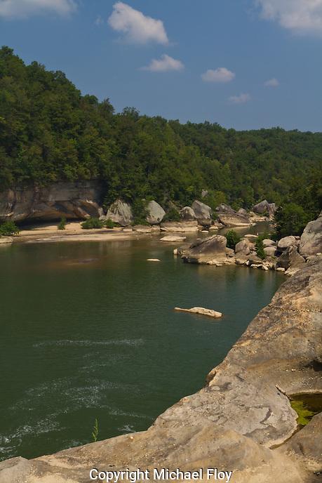 View of the Cumberland River below Cumberland Falls in Kentucky.