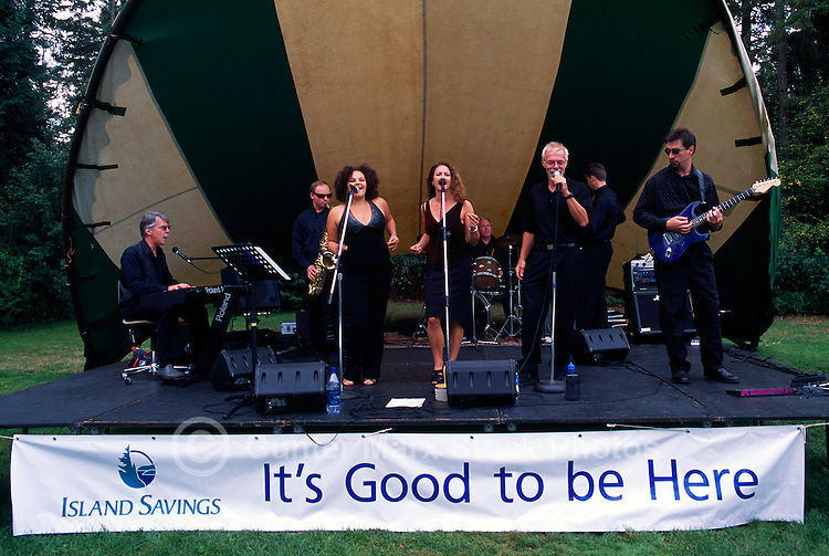 Singers and a Band providing Live Entertainment at Cherry Point Vineyards, at the Cowichan Valley Wine & Culinary Festival, on Vancouver Island, British Columbia, Canada