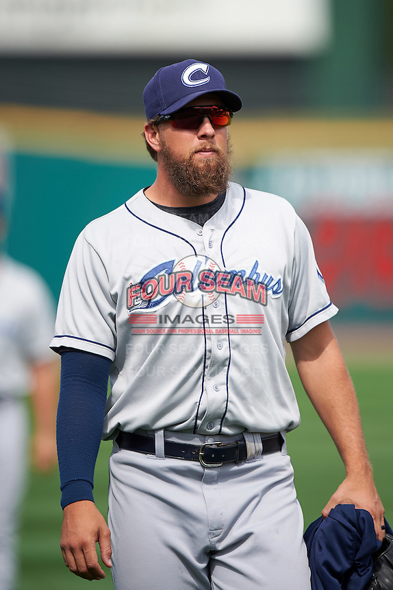 Columbus Clippers pitcher Josh Martin (35) walks to the dugout after a game against the Rochester Red Wings on June 16, 2016 at Frontier Field in Rochester, New York.  Rochester defeated Columbus 6-2.  (Mike Janes/Four Seam Images)