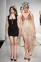 Senior fashion designer Joana Rigol, walks runway with model, at the close of the Pratt 2011 fashion show.