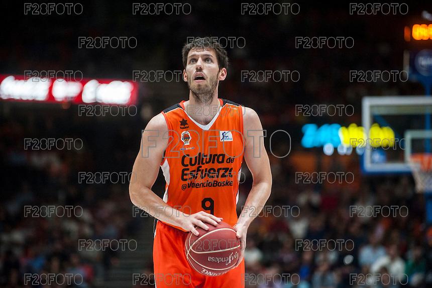 VALENCIA, SPAIN - OCTOBER 31: Sam Van Brossom during ENDESA LEAGUE match between Valencia Basket Club and Rio Natura Monbus Obradoiro at Fonteta Stadium on   October 31, 2015 in Valencia, Spain