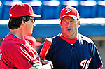 14 March 2010: Washington Nationals' Manager Jim Riggleman (right) chats with St. Louis Cardinals Manager Tony La Russa prior to a Spring Training game at Space Coast Stadium in Viera, Florida. The Cardinals defeated the Nationals 7-3 in Grapefruit League action. Mandatory Credit: Ed Wolfstein Photo