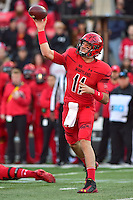 College Park, MD - NOV 12, 2016: Maryland Terrapins quarterback Perry Hills (11) throws from the pocket during game between Maryland and Ohio State at Capital One Field at Maryland Stadium in College Park, MD. (Photo by Phil Peters/Media Images International)