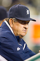 Detroit Tigers bench coach Gene Lamont (22) watches the action from the home dugout during the Major League Baseball game against the Tampa Bay Rays at Comerica Park on June 4, 2013 in Detroit, Michigan.  The Tigers defeated the Rays 10-1.  Brian Westerholt/Four Seam Images