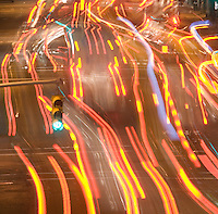 AVAILABLE FOR LICENSING FROM PLAINPICTURE.  Please go to www.plainpicture.com and search for image # p5690222.<br /> <br /> Blurred Motion View of Car Tail Lights at Night on Tenth Avenue in Chelsea, New York City, New York State, USA