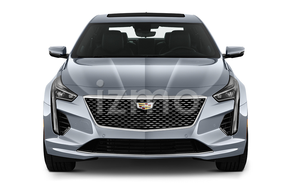 Car photography straight front view of a 2019 Cadillac CT6 Platinum 4 Door Sedan Front View