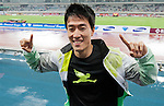SHANGHAI, CHINA - MAY 19:  Liu Xiang of China (C) celebrates after winning the Men 110m Hurdles  on May 19, 2012 at the Shanghai Stadium in Shanghai, China.  Photo by Victor Fraile / The Power of Sport Images