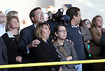 SIOUX FALLS, SD - OCTOBER 16:  Sioux Falls Mayor Mike Huether watch with his family as the last beam is placed in the Denny Sanford Event Center that will enclose the building.  (Photo by Dave Eggen/Inertia)