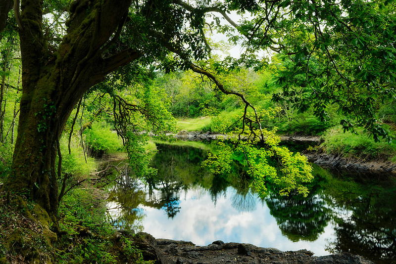 Still waters of Ballynahinch River. Connemara. County Galway, Ireland