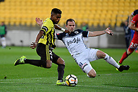 Wellington Phoenix&rsquo; Roy Krishna and Melbourne Victory&rsquo;s Leigh Broxham in action during the A League - Wellington Phoenix v Melbourne Victory FC at Westpac Stadium, Wellington, New Zealand on Wednesday 10 January 2018. <br /> Photo by Masanori Udagawa. <br /> www.photowellington.photoshelter.com