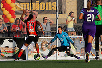 Rochester, NY - Saturday June 11, 2016: Western New York Flash forward Jessica McDonald (14) Orlando Pride goalkeeper Ashlyn Harris (1) during a regular season National Women's Soccer League (NWSL) match between the Western New York Flash and the Orlando Pride at Rochester Rhinos Stadium.