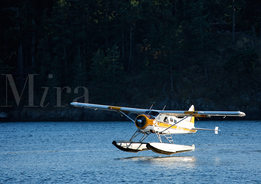 Kenmore Air seaplane taking off from Friday Harbor, San Juan Islands, San Juan County, Washington, USA