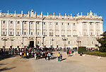 Crowds of tourists in front of Palacio Real royal palace, Madrid, Spain