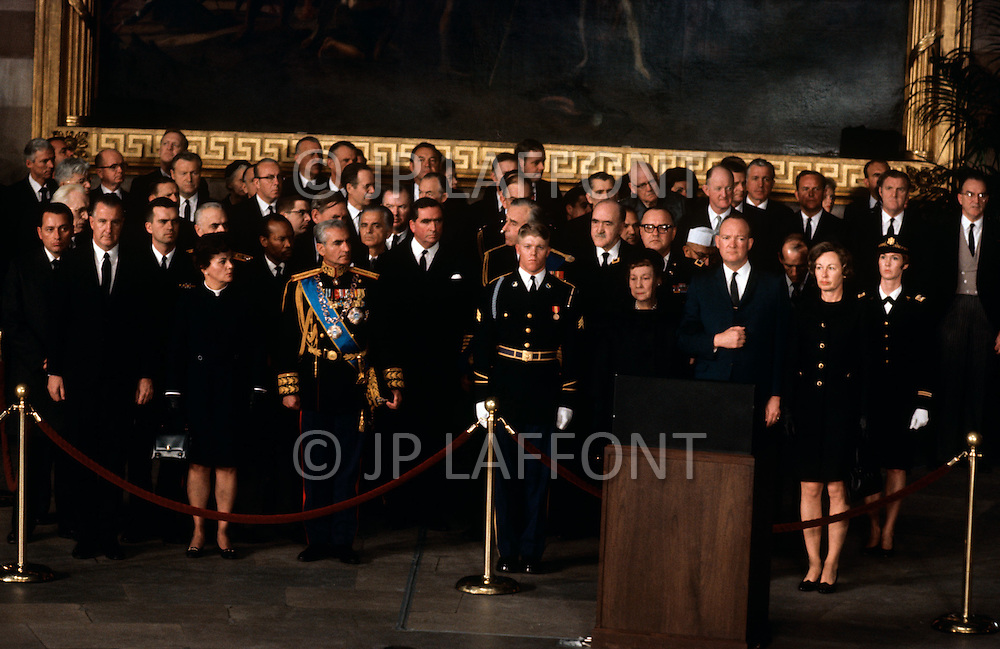 Washington National Cathedral - March 31, 1969. The Eisenhower family and U.S. Officials at the funeral procession of former President Dwight Eisenhower. He (October 14, 1890 - March 28, 1969) was the 34th President of the United States from 1953 until 1961, was a five-star general in the United States Army during World War II and was the first supreme commander of NATO.
