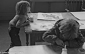 Drinking a bottle of milk, Art room, Summerhill school, Leiston, Suffolk, UK. 1968.