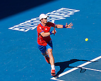 ANDY MURRAY (GBR) against KEI NISHIKORI (JPN)  in the Quarter Finals of the Men's Singles. Andy Murray beat Kei Nishikori 6-3 6-3 6-1..25/01/2012, 25th January 2012, 25.01.2012 - Day 10..The Australian Open, Melbourne Park, Melbourne,Victoria, Australia.@AMN IMAGES, Frey, Advantage Media Network, 30, Cleveland Street, London, W1T 4JD .Tel - +44 208 947 0100..email - mfrey@advantagemedianet.com..www.amnimages.photoshelter.com.