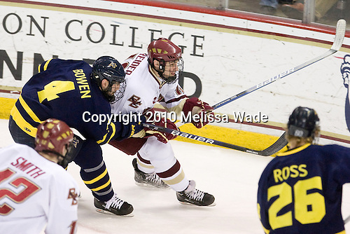 Pat Bowen (Merrimack - 4), Chris Kreider (BC - 19) - The Boston College Eagles defeated the Merrimack College Warriors 7-0 on Tuesday, February 23, 2010 at Conte Forum in Chestnut Hill, Massachusetts.