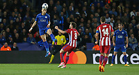Leicester City's Yohan Benalouane heads clear from Atletico Madrid's Saul Niguez<br /> <br /> Photographer Stephen White/CameraSport<br /> <br /> UEFA Champions League Quarter Final Second Leg - Leicester City v Atletico Madrid - Tuesday 18th April 2017 - King Power Stadium - Leicester <br />  <br /> World Copyright &copy; 2017 CameraSport. All rights reserved. 43 Linden Ave. Countesthorpe. Leicester. England. LE8 5PG - Tel: +44 (0) 116 277 4147 - admin@camerasport.com - www.camerasport.com