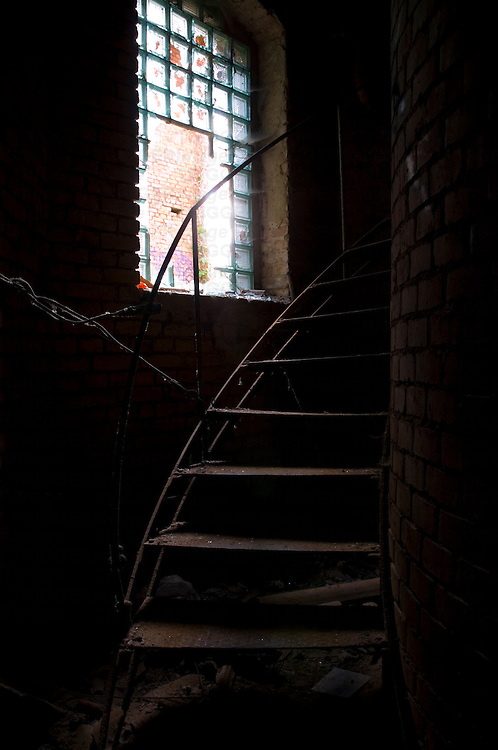 Old abandoned factory with metal staircase in Potsdam Berlin