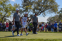 Brooks Koepka (USA) and Phil Mickelson (USA) head down 7 during round 1 of the Arnold Palmer Invitational at Bay Hill Golf Club, Bay Hill, Florida. 3/7/2019.<br /> Picture: Golffile | Ken Murray<br /> <br /> <br /> All photo usage must carry mandatory copyright credit (&copy; Golffile | Ken Murray)