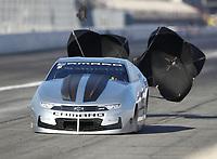 Feb 7, 2020; Pomona, CA, USA; NHRA pro stock driver Chris McGaha during qualifying for the Winternationals at Auto Club Raceway at Pomona. Mandatory Credit: Mark J. Rebilas-USA TODAY Sports