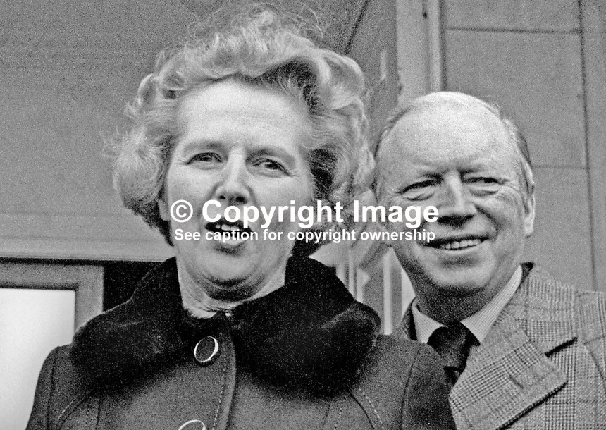 Tory leader Margaret Thatcher and Shadow Secretary of State for N Ireland Airey Neave on a visit to the Province, November 1975. 197511140735MT.<br />
