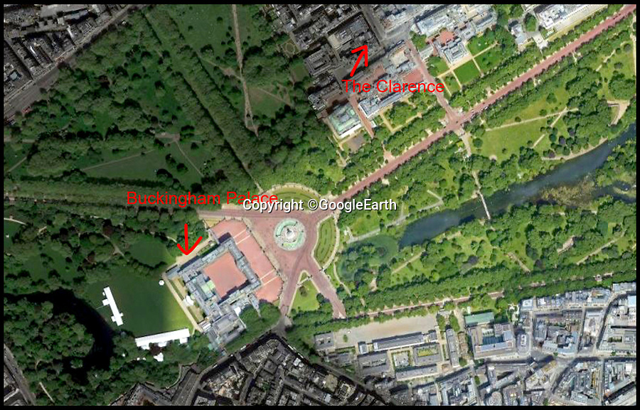 BNPS.co.uk (01202 558833)<br /> Pic:    GoogleEarth<br /> <br /> Google Earth image showing the flat in close proximity to Buckingham Palace.<br /> <br /> A luxury flat that is situated next to Buckingham Palace has gone on the the market for £22.5m.<br /> <br /> The four bed apartment is within a listed building overlooking The Mall and is just a few hundred yards from Buckingham Palace.