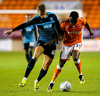 Blackpool's Joe Dodoo battles with West Bromwich Albion U21&rsquo;s Kyle Howkins<br /> <br /> Photographer Alex Dodd/CameraSport<br /> <br /> The EFL Checkatrade Trophy Northern Group C - Blackpool v West Bromwich Albion U21 - Tuesday 9th October 2018 - Bloomfield Road - Blackpool<br />  <br /> World Copyright &copy; 2018 CameraSport. All rights reserved. 43 Linden Ave. Countesthorpe. Leicester. England. LE8 5PG - Tel: +44 (0) 116 277 4147 - admin@camerasport.com - www.camerasport.com