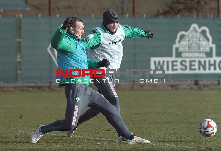 22.02.2015, Trainingsgelaende, Bremen, GER, 1.FBL, Training Werder Bremen, im Bild Luca Caldirola (Bremen #3), Izet Hajrovic (Bremen #14)<br /> <br /> Foto &copy; nordphoto / Frisch