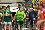 Nall O'Callaghan Kit Man. Kerry team takes to the field before the Munster Senior Football Final at Fitzgerald Stadium on Sunday.