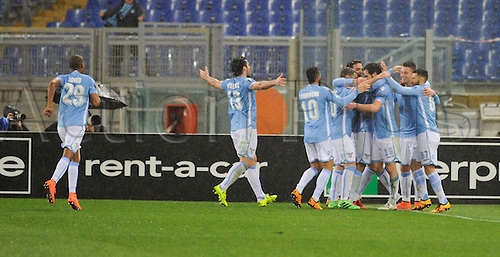 25.02.2016. Stadio Olimpico, Rome, Italy. Uefa Europa League, Return leg of SS Lazio versus Galatasaray. Goal celebrations from Lazio