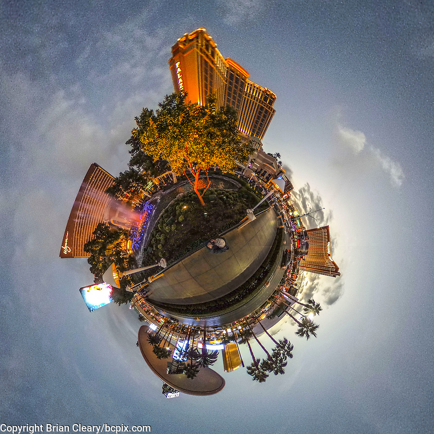 360 degree little planet view of the Las Vegas strip, November 2016, taken with Ricoh Theta S.  (Photo by Brian Cleary/bcpix.com)