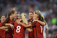 San Diego, Ca - Sunday, January 21, 2018: Tierna Davidson Andi Sullivan Julie Ertz Alex Morgan Mallory Pugh during a USWNT 5-1 victory over Denmark at SDCCU Stadium.