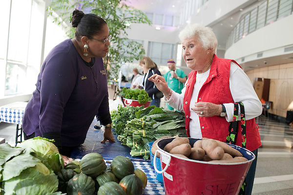 November 23, 2010. Chapel Hill, NC.. (left to right) Linda Leach, the wife of Stanley Hughes, an organic farmer whose family has been in the business for generations, explains the differences in the 3 types of sweet potatoes that she sells at the UNC Hospital Farmer's market to Helen Barnes..   The sweet potato seems to be having a comeback, with many farmers increasing their planting of the potato's numerous varieties, as well as many restaurants including it on their menu in various forms such as the ever popular sweet potato fry.