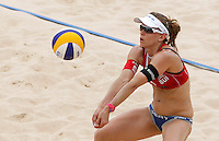 Switzerland's Nadine Zumkehr in action at the Beach Volleyball World Tour Grand Slam, Foro Italico, Rome, 22 June 2013. Brazil defeated Switzerland 2-1.<br /> UPDATE IMAGES PRESS/Isabella Bonotto